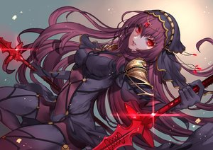 Rating: Safe Score: 14 Tags: bodysuit breasts fate/grand_order fate_(series) headdress jigenn long_hair purple_hair red_eyes scathach_(fate/grand_order) skintight sword weapon User: RyuZU