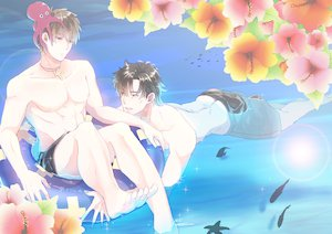 Rating: Safe Score: 23 Tags: all_male black_hair brown_hair cross emiya_kiritsugu fate_(series) fate/stay_night fate/zero flowers kotomine_kirei male monchan19870113 swimsuit water User: STORM