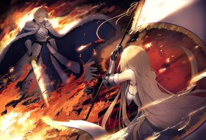 Rating: Safe Score: 80 Tags: 2girls armor artoria_pendragon_(all) blonde_hair cape dress fate/grand_order fate_(series) fire gloves green_eyes iiiroha jeanne_d'arc_(fate) long_hair saber short_hair sword weapon User: Dreista