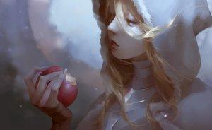 Rating: Safe Score: 63 Tags: apple armor blonde_hair blue_eyes close food fruit hoodie jlien- long_hair original realistic User: C4R10Z123GT
