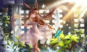 Rating: Safe Score: 88 Tags: amiya_(arknights) animal_ears applecaramel_(acaramel) arknights blue_eyes brown_hair bubbles bunny_ears butterfly dress flowers instrument long_hair twintails violin User: BattlequeenYume