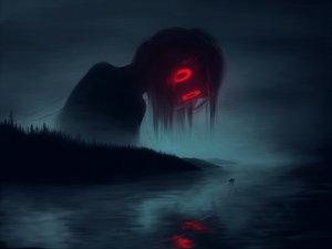 Rating: Safe Score: 160 Tags: boat dark klaufir night original red_eyes reflection sky water User: RyuZU