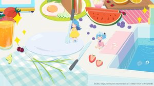 Rating: Safe Score: 11 Tags: 2girls aqua_hair bili_bili_douga bili_girl_22 bili_girl_33 blue_hair cherry chibi dress drink food fruit long_hair orange_(fruit) ponytail prophet_heart red_eyes short_hair strawberry summer_dress water watermark watermelon User: otaku_emmy