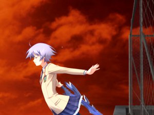 Rating: Safe Score: 18 Tags: blue_hair chaos;head kishimoto_ayase seifuku short_hair skirt sky sword weapon User: Tensa