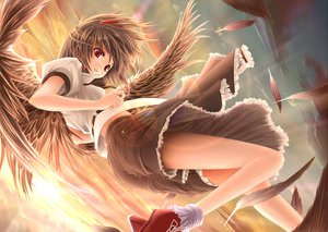 Rating: Safe Score: 98 Tags: black_hair clouds feathers gizensha jpeg_artifacts red_eyes shameimaru_aya sky touhou wings User: austerely