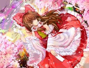 Rating: Safe Score: 16 Tags: bow brown_eyes brown_hair hakurei_reimu hongmao japanese_clothes long_hair miko ofuda petals ribbons touhou User: RyuZU