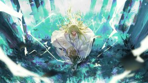 Rating: Safe Score: 51 Tags: all_male enkidu fate/grand_order fate_(series) green_eyes green_hair long_hair male rsef User: FormX