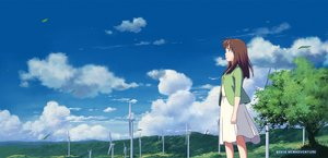 Rating: Safe Score: 21 Tags: brown_hair clouds dress isai_shizuka long_hair petals scenic sky tree windmill User: RyuZU