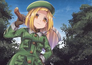 Rating: Safe Score: 36 Tags: blonde_hair cat_smile clouds fate/grand_order fate_(series) gloves hat leaves loli paul_bunyan_(fate/grand_order) persocon93 short_hair sky tree weapon yellow_eyes User: otaku_emmy