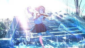 Rating: Safe Score: 32 Tags: goroku original rain school_uniform stairs umbrella water User: FormX