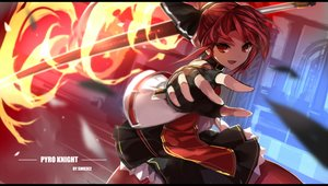 Rating: Safe Score: 113 Tags: bow choker collar dress elesis_(elsword) elsword fire gloves pantyhose red_eyes red_hair staff swd3e2 watermark User: Flandre93