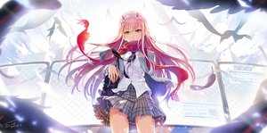 Rating: Safe Score: 113 Tags: animal bird darling_in_the_franxx feathers green_eyes horns long_hair pink_hair scarf seifuku signed skirt tel-o zero_two User: BattlequeenYume