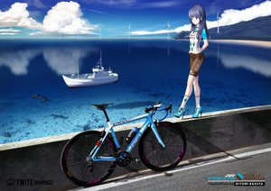 Rating: Safe Score: 34 Tags: bicycle bike_shorts hitomi_kazuya long_hair original shorts skintight watermark User: gnarf1975