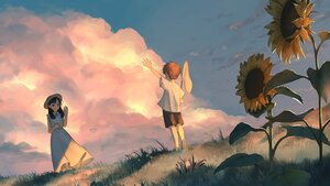 Rating: Safe Score: 19 Tags: clouds dress flowers loli male original sky sunflower sunset yog_harukawa User: Fepple