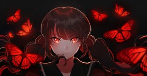 Rating: Safe Score: 87 Tags: black_hair blush butterfly dangan-ronpa dark harukawa_maki long_hair new_dangan-ronpa_v3 red_eyes savi_(byakushimc) twintails User: RyuZU