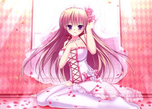 Rating: Safe Score: 183 Tags: blush cleavage dress flowers long_hair mikeou navel nopan original petals pink_chuchu purple_eyes see_through thighhighs wedding_dress User: Wiresetc