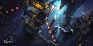 Rating: Safe Score: 79 Tags: landscape night nobody pixiv_fantasia scenic stairs swd3e2 watermark User: FormX