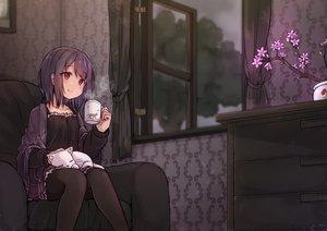 Rating: Safe Score: 55 Tags: animal black_hair cat clouds drink flowers maka_neko original pantyhose red_eyes short_hair skirt sky tree User: otaku_emmy