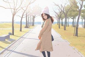 Rating: Safe Score: 83 Tags: bibido brown_eyes brown_hair hat original scarf signed tree winter User: otaku_emmy