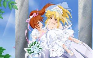 Rating: Safe Score: 60 Tags: fate_testarossa mahou_shoujo_lyrical_nanoha mahou_shoujo_lyrical_nanoha_strikers shoujo_ai takamachi_nanoha wedding wedding_attire User: 秀悟
