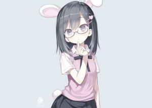 Rating: Safe Score: 95 Tags: animal_ears black_eyes black_hair blue bunny_ears bunnygirl capriccio glasses original school_uniform short_hair skirt tail third-party_edit watermark User: otaku_emmy