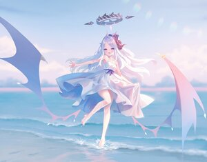 Rating: Safe Score: 60 Tags: barefoot beach blue_archive clouds dress halo hina_(blue_archive) horns long_hair nishiki_koi polychromatic purple_eyes sky water wings User: BattlequeenYume