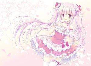 Rating: Safe Score: 44 Tags: blush bow cherry_blossoms dress garter gradient hasekura_chiaki hatsune_miku long_hair petals pink_eyes pink_hair ribbons sakura_miku thighhighs twintails vocaloid wristwear User: otaku_emmy