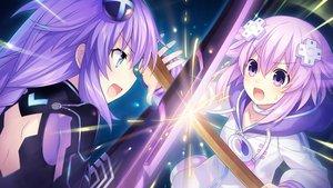 Rating: Safe Score: 41 Tags: blue_eyes choker game_cg hoodie hyperdimension_neptunia neptune purple_eyes purple_hair purple_heart sword tsunako weapon User: mattiasc02