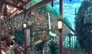 Rating: Safe Score: 252 Tags: asano_shiki building city clouds dress mask original scenic sky torii tree uniform water waterfall User: opai