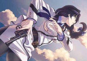 Rating: Safe Score: 132 Tags: black_hair braids close clouds glasses gono_hitomi gun long_hair pantyhose rail_wars! tagme_(artist) uniform weapon User: Wiresetc