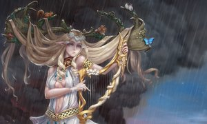 Rating: Safe Score: 23 Tags: animal butterfly cropped horns instrument long_hair original rain tagme_(artist) water User: kyxor
