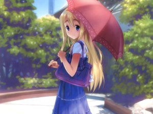 Rating: Safe Score: 74 Tags: blonde_hair blue_eyes dress goto_p k-on! kotobuki_tsumugi long_hair umbrella User: meccrain