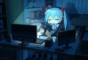 Rating: Safe Score: 42 Tags: computer hatsune_miku instrument nokuhashi piano vocaloid watermark User: FormX