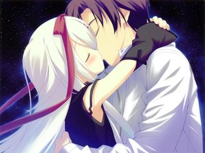 Rating: Safe Score: 59 Tags: game_cg hoshizora_no_memoria kiss mare_s_ephemeral night shida_kazuhiro sky stars User: ホタル
