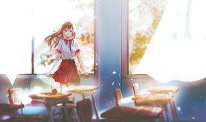 Rating: Safe Score: 64 Tags: brown_eyes brown_hair flowers kneehighs long_hair original petals rose say_hana school_uniform skirt User: RyuZU