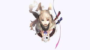 Rating: Safe Score: 244 Tags: animal_ears bicolored_eyes blonde_hair bunny bunny_ears bunnygirl eyepatch katana long_hair original redjuice ribbons scarf skirt sword weapon white User: bryci
