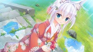 Rating: Safe Score: 27 Tags: aqua_eyes flowers foxgirl game_cg grass japanese_clothes kimono rain shiro_(tenkiame) short_hair stairs tenkiame water white_hair yuzu_modoki User: jimmy70205