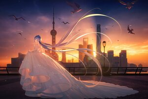 Rating: Safe Score: 74 Tags: animal bird building city clouds long_hair luo_tianyi purple_hair sky sunset tidsean vocaloid vsinger wedding_attire User: BattlequeenYume
