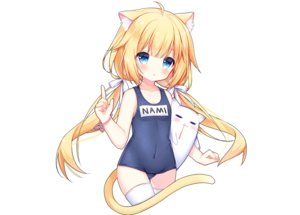 Rating: Safe Score: 38 Tags: aqua_eyes blonde_hair blush catgirl loli long_hair nosebleed ribbons school_swimsuit swimsuit tail tengxiang_lingnai thighhighs third-party_edit twintails wristwear User: otaku_emmy