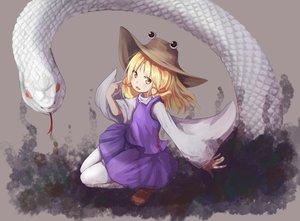 Rating: Safe Score: 67 Tags: animal baram blonde_hair hat moriya_suwako snake touhou yellow_eyes User: Flandre93