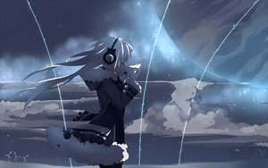 Rating: Safe Score: 342 Tags: bow clouds headphones long_hair mizushirazu night original sky space stars white_hair windmill User: HawthorneKitty