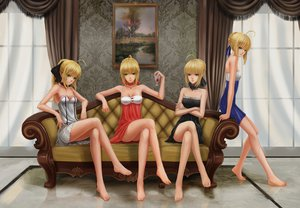 Rating: Safe Score: 196 Tags: artoria_pendragon_(all) barefoot blonde_hair choker dress fate/extra fate_(series) fate/stay_night fate/unlimited_codes green_eyes group infukun nero_claudius_(fate) saber saber_alter saber_lily User: opai