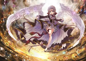 Rating: Safe Score: 163 Tags: brown_hair clouds feathers garter goth-loli green_eyes headdress lolita_fashion long_hair original pointed_ears sky sunset umi_no_mizu water wings User: BattlequeenYume