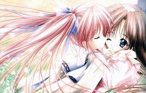 Rating: Safe Score: 83 Tags: blush brown_hair kiss long_hair red_hair ribbons shoujo_ai tinkle twintails User: Oyashiro-sama