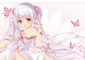 Rating: Safe Score: 93 Tags: blush breasts butterfly cleavage dress long_hair navel original red_eyes shirosei_mochi twintails white_hair User: BattlequeenYume