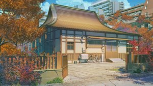 Rating: Safe Score: 117 Tags: arsenixc autumn bicycle building city clouds landscape leaves love_money_rock'n'roll nobody original petals realistic scenic sky tree watermark User: RyuZU