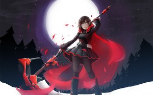 Rating: Safe Score: 159 Tags: black_hair boots forest gray_eyes moon pantyhose ruby_rose rwby scythe short_hair skirt stars tree weapon User: SciFi