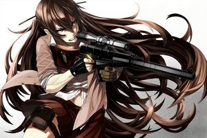 Rating: Safe Score: 237 Tags: aliasing blue_eyes brown_hair gloves gun long_hair navel original school_uniform skirt tef weapon User: RyuZU