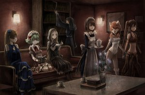 Rating: Safe Score: 127 Tags: animal_ears book catgirl group maid toi_(number8) User: w7382001