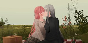 Rating: Safe Score: 81 Tags: 2girls chihuri405 flowers grass gray_hair kiss long_hair necklace original pink_hair shoujo_ai skirt sky yana zoya User: sadodere-chan